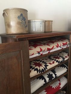 Crocks, quilts and old chest. Wonderful