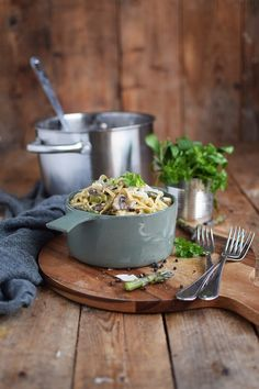 One Pot Pasta mit Pilzen und Spargel - One Pot Pasta with mushrooms and green asparagus (1) | Das Knusperstübchen