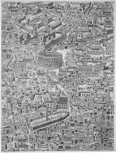 Pirro Ligorio, Anteiquae urbis imago, Lossi reprint, Map in 12 parts of Ancient Rome recreated by Ligorio from his knowledge of ancient reliefs Vintage Maps, Antique Maps, Ancient Rome, Ancient History, Ancient Ruins, Rome Map, City Sketch, Empire Romain, Italy Map
