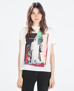 Discover the new ZARA collection online. T Shirt Time, Babe, Fashion Catalogue, Girls Tees, T Shirts For Women, Clothes For Women, Zara Women, Printed Shirts, Shirt Designs