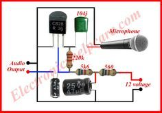 This is a symple microphone circuit diagram. we need this circuit diagram in every where in the electrinics. without microphone we can't think electronics. Simple Electronic Circuits, Electronic Circuit Design, Electronic Engineering, Simple Electronics, Electronics Basics, Electronics Projects, Electrical Projects, Electrical Installation, Electrical Wiring