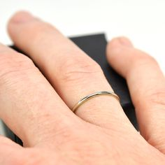 Skinny White Gold Ring, 14K Palladium White Gold Wedding Band or Simple Stacking Ring, Eco Friendly, Sea Babe Jewelry