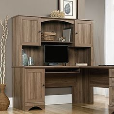 Sophisticated Workplace with Sauder Computer Desk buy sauder harbor view hutch in salt oak: hutch furniture yhuifes - Furnish Ideas Rustic Office Desk, Home Office Desks, Home Office Furniture, Modern Furniture, Metal Furniture, Furniture Ideas, Outdoor Furniture, Corner Desk With Hutch, Desk Hutch