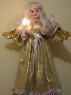 """Telco Motionette Christmas 24"""" Gold Angel Fairy Girl Animated illuminated Candle"""