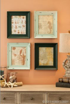Weathered frames in neutral tones provide an excellent contrast to solid frames in bold colors.
