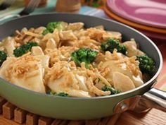 The easy convenience of a variety of frozen foods makes this kid-pleasing Chicken Pierogi Skillet supper an instant hit. The extra bonus of crunchy French-fried onions guarantees that this family-friendly meal will disappear in no time.