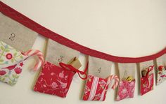 Bunting Advent Calendar by Sew Sweet Violet modern holiday decorations