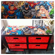 Decoupage the top of the toy storage unit like this