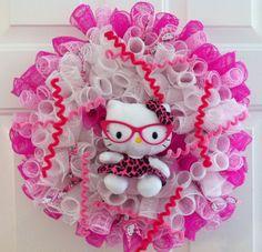 Hello Kitty wreath, decor mesh