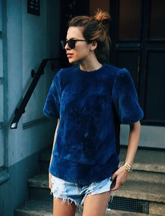 TUESDAYS,deep blue outfit, chic and casual outfit, statement