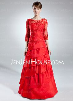 Mother of the Bride Dresses - $168.99 - A-Line/Princess Scoop Neck Floor-Length Taffeta Tulle Mother of the Bride Dress With Lace Beading (008006255) http://jenjenhouse.com/A-Line-Princess-Scoop-Neck-Floor-Length-Taffeta-Tulle-Mother-Of-The-Bride-Dress-With-Lace-Beading-008006255-g6255