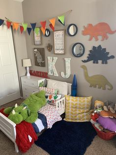 dinosaur nursery Wow check out this amazing boys bedroom decor - what a creative theme Boys Dinosaur Bedroom, Dinosaur Room Decor, Boy Toddler Bedroom, Big Boy Bedrooms, Boys Bedroom Decor, Toddler Rooms, Baby Boy Rooms, Toddler Boy Room Ideas, Dinosaur Kids Room