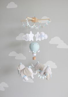 Baby Mobile, Elephant and Hot Air Balloon, Travel Theme Nursery Decor, Ceiling…