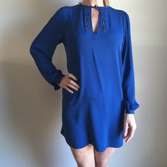 SALE!!  DVF blue silk mini, sz. 8 Adorable navy silk Diane Von Furstenberg mini with beaded detail at the neck and shoulders.  Size 8, but runs a bit small. Diane von Furstenberg Dresses Mini