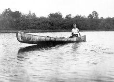 Franklin D. Roosevelt paddles a birch bark canoe around Campobello Island, a favorite getaway during his youth. 1907 .❤❁❤❃❤❁❤❁❤❁❤❁❤✾   http://en.wikipedia.org/wiki/Campobello_Island