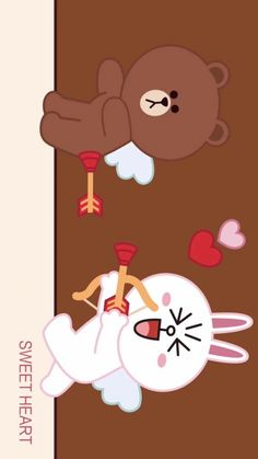 Friends Wallpaper, Bear Wallpaper, Colorful Wallpaper, Cute Love Pictures, Cute Love Gif, Cony Brown, Brown Bear, Line Cony, Good Morning Kisses