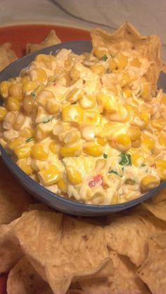 Corn Dip - 1 can yellow and white corn, drained, 2 cans mexicorn, drained, 2 cups shredded cheese, 1 c mayo, 1 c sour cream, green onions, chopped. Mix everything in a big bowl and serve with tortilla chips.