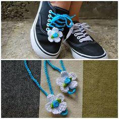 Cordones de Zapatos con Flores de Crochet - Patrones Crochet