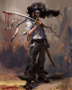 Afro Samurai by Tomasz Gronowski – yasb∞gie Samurai Drawing, Samurai Artwork, Afro Punk, Zoro, Afro Samurai, Samurai Anime, Badass Drawings, Samurai Wallpaper, African Tattoo