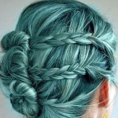 teal hair braid updo. can not get enough of these colours