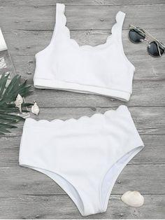 Scalloped High Waisted Bralette Bikini Set - White - White S Sporty Swimwear, Sporty Bikini, Swimwear Sale, Crop Top Bikini, Bikini Set, Scalloped Bikini, Zaful Bikinis, Monokini Swimsuits, Bralette Bikini