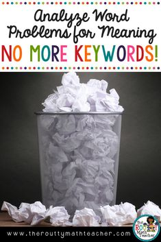 The use of math keywords focuses on looking at the words in isolation and not in the context of the problem. Focusing on the problem as a whole allows students to become better at solving math word problems. In this post, I share more about the operation situations and offer strategies for how to help students visualize a problem. I also offer a free printable poster that can be used to replace that math keywords anchor chart.