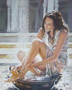 "Saatchi Online Artist: Andy Lloyd; Acrylic, 2010, Painting ""Woman Bathing"""