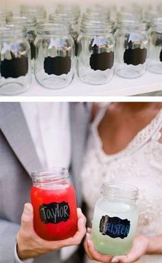 mason jars with chalkboard labels