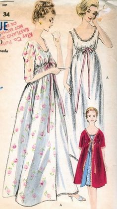 1960s LOVELY EMPIRE  NIGHTGOWN, ROBE HOUSECOAT BRUNCH PATTERN VOGUE EASY TO MAKE 5830
