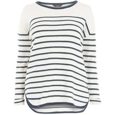 Dorothy Perkins **DP Curve Ivory and Navy Stripe Jumper (£20) ❤ liked on Polyvore featuring tops, sweaters, ivory, navy blue sweater, white cotton tops, long sleeve sweater, stripe sweaters and white cotton sweater