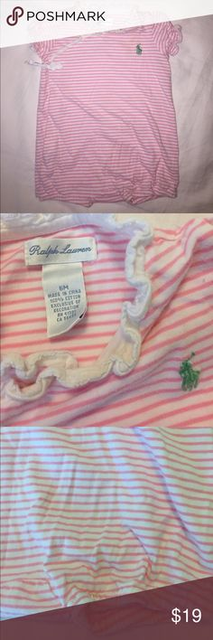 👭[Ralph Lauren] stripe play suit Precious pink and white stripes. Snaps all down the front with ribbon tie. Excellent condition. Classic, polo, girl, summer. Ralph Lauren One Pieces