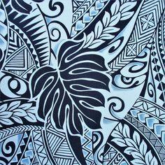 Fabric, Polynesian Tattoo Tapa Designs in Blue, Monstera Leaves, Hawaiian Tropical, By The Yard Polynesian Tattoos Women, Polynesian Tattoo Designs, Polynesian Tribal, Hawaiian Tribal, Hawaiian Tropic, Samoan Patterns, Deco Surf, Island Tattoo, Motif Tropical
