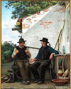 Two old men sitting in the shadow, Hornbæk by by Carl Heinrich Bloch (Danish 1834-1890)