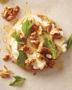 Goat Cheese and Honey on a Whole-Wheat English Muffin, Wholeliving.com