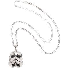 Star Wars Stormtrooper Necklace Hot Topic (£11) ❤ liked on Polyvore featuring jewelry, necklaces, metal pendant, metal necklace, long chain necklace, long pendant and chains jewelry