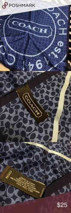 100% silk Coach scarf Gently used. Great condition. Pair it with a Coach bag! Bundle and save! The creases are just from being folded. Coach Accessories Scarves & Wraps