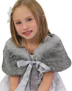 Baby Cape White Beige Brown Khaki Fauz Fur Flower Wedding Kids Girl Collar Shawl