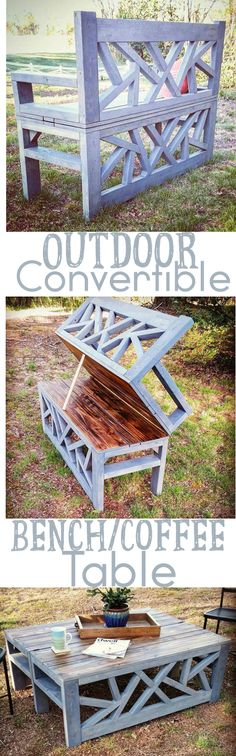 Ted's Woodworking Plans - How To: Build this outdoor bench that converts to a coffee table Get A Lifetime Of Project Ideas & Inspiration! Step By Step Woodworking Plans Furniture Projects, Home Projects, Diy Furniture, Outdoor Furniture, Funny Furniture, Wood Projects That Sell, Carpentry Projects, Woodworking Projects That Sell, Modular Furniture