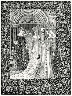 The Two Queens Quarrel.  William Brown Macdougall, from The Fall of the Nibelungs, by Margaret Armour, London, 1897.  (Source: archive.org)