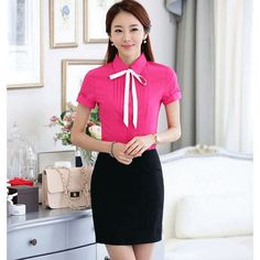 Women's #pink short sleeve #shirt casual office working style pleated effect, lapel collar, Button fastenings on the front.