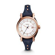 Small Original Boyfriend Three-Hand Date Leather Watch \u2013 Midnight Blue