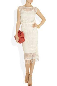 Alice and Olivia Lace Cream Fringe Beaded Dress Size 6   eBay