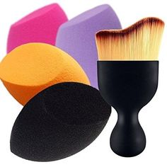 Contour Brush & Makeup Sponges 4+1 Professional Beauty Sponge Blender Brush Set #BEAKEY