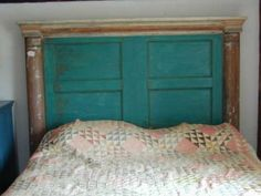 Artistic headboard made from antique architectural pieces
