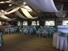 Classic Beach Themed, Jupiter Civic Center Wedding Reception - Teal and White Decoration w/ Custom White Draping.