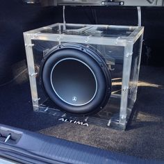 Installation of the machined acrylic JL Audio 12W6v3 enclosure went very well. custom car stereo trunk install JL Audio
