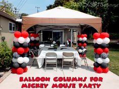 Balloon Columns for a Mickey Mouse Party by Two Sisters Crafting #MickeyMouseParty #MinnieMouseParty