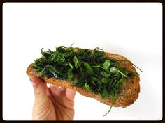 The easiest superfood snack, a quickly heated up wild herb mix toast.