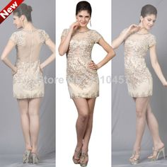 2014 New Choiyes Graceful Slim Short Sleeve Sexy Sheer Tulle Fabric Prom Dresses