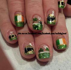 St Patrick's Day nails! Follow me in Facebook at www.facebook.com/nailsbyjami to see tons more unique designs.  nail art, St pattys day nails, nail designs, green nail art, shamrocks,
